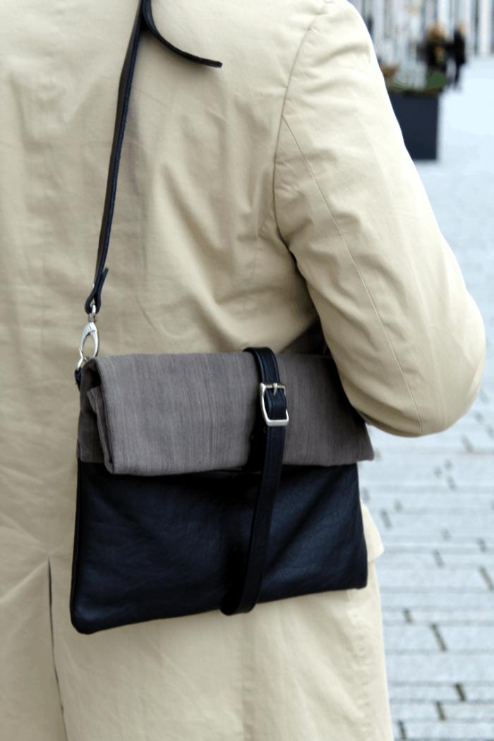 Elegante Herrentasche in Schwarz und Anthrazitgrau