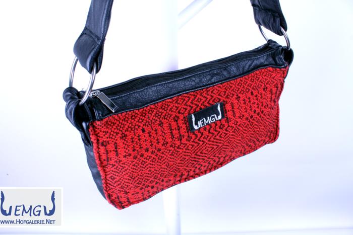 Lederhandtasche Schultertasche mit handgewebtem Baumwollstoff