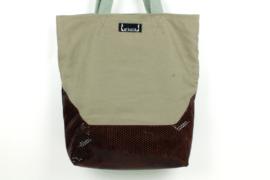 Geräumiger Shopper aus Canvas und Rindsleder - 0322
