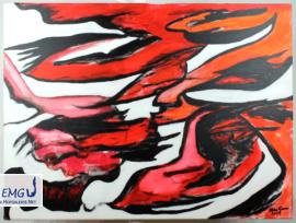 Elke M. Geenen - Feuervogel im Eis, Acryl auf Leinwand, 80 x 60 cm