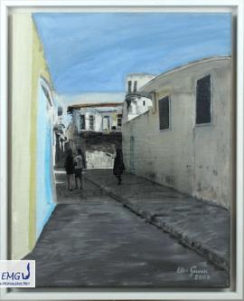 Elke M. Geenen - Hatay 9, Collage (Acryl, Foto, Pastellkreide) auf Leinwand, 50 x 40 cm, Maße zzgl. Rahmen