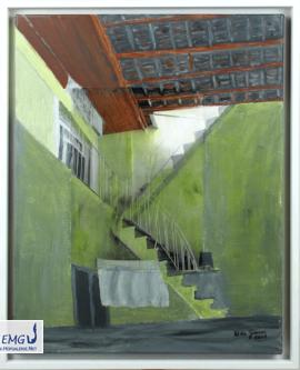 Elke M. Geenen - Hatay 5, Collage (Acryl, Foto, Pastellkreide) auf Leinwand, 50 x 40 cm, Maße zzgl. Rahmen