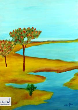 Elke M. Geenen - Arkadische Landschaft Öl auf Leinwand, 50 x 70 cm