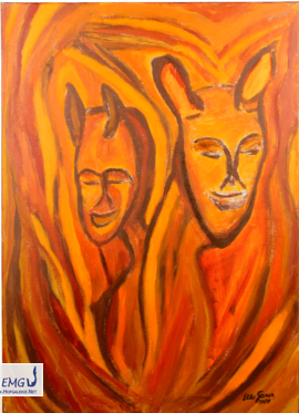 Elke M. Geenen - Maske und Faun Acryl auf Leinwand, 50 x 70 cm