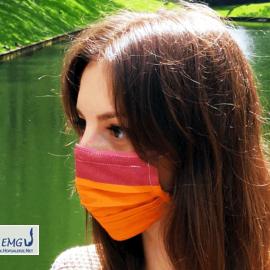 Behelfs-Mund-Nasen-Maske, farbig (in Rottönen)